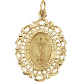 14K Yellow Our Lady of Guadalupe Medal, 25x18 mm