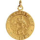 14K Yellow St. Christopher Medal, 14.75 mm