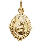 14K Yellow St. Anthony Medal Charm, 12x9 mm