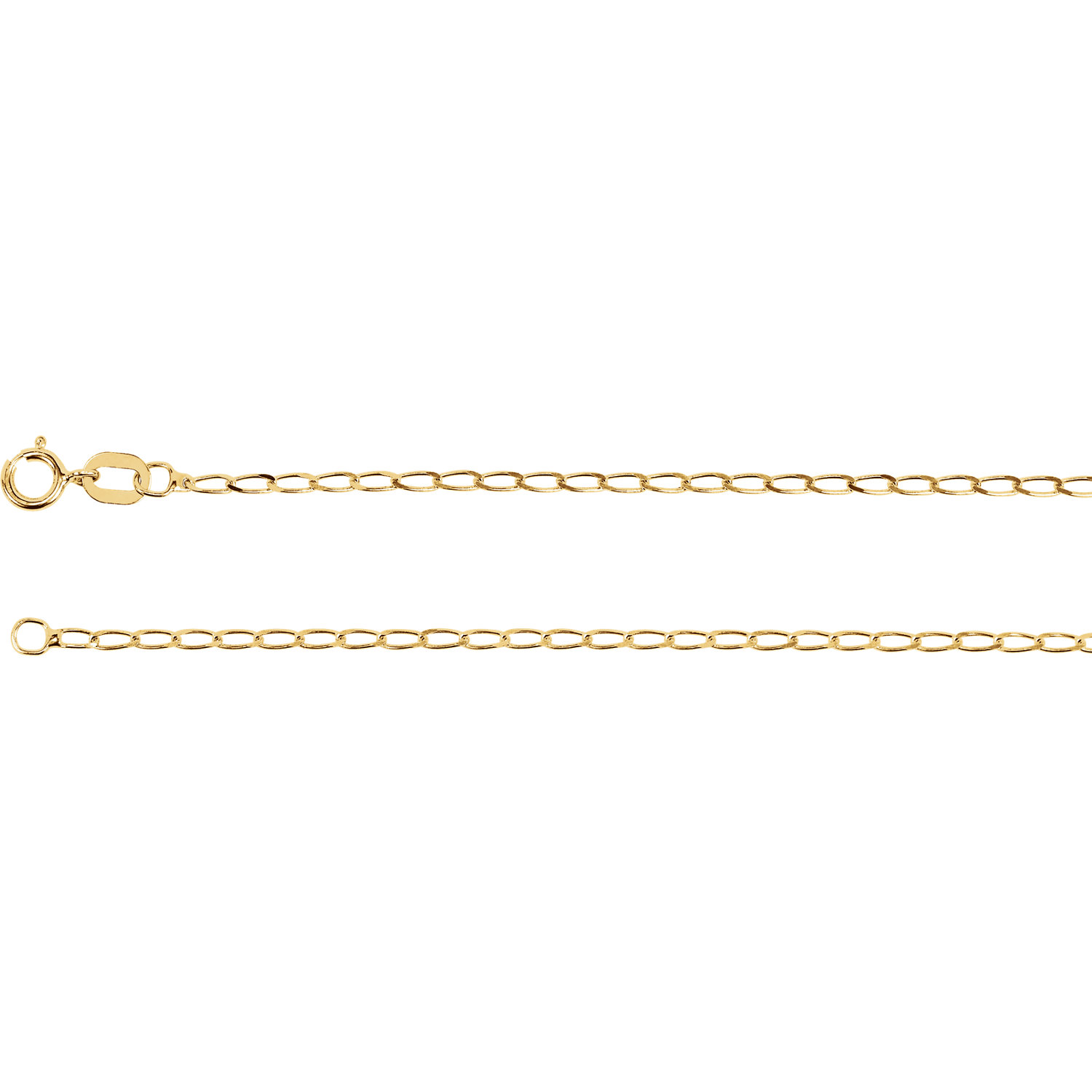 14K Yellow Solid Curb Chain, 0.5 mm, with Spring Ring Clasp, 18 Inches