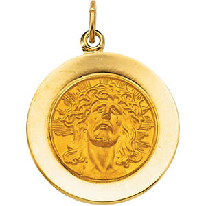 14K Yellow Face of Jesus (Ecce Homo) Pendant, 18 mm